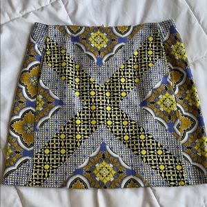 Multi Color Patterned Mini Skirt with Pockets